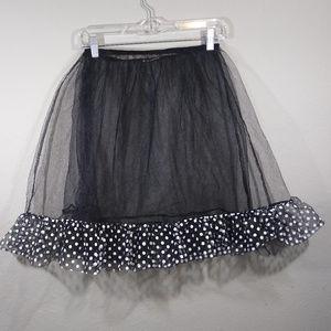 Black Tulle Net Crinoline Slip w/ Polka Dot Ruffle